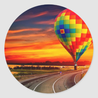 Balloon Sunset Classic Round Sticker