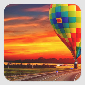 Balloon Sunset Square Sticker