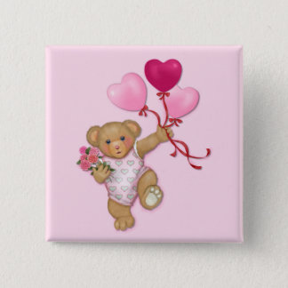 Balloon Teddy 2 Inch Square Button