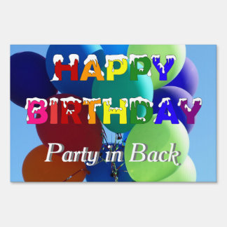 Balloon Theme Rainbow Birthday Party in Back Sign