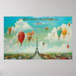 Ballooning Over Paris Poster