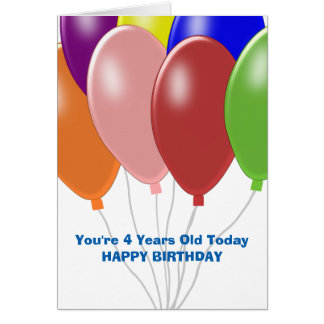 Balloons 4th Birthday Card