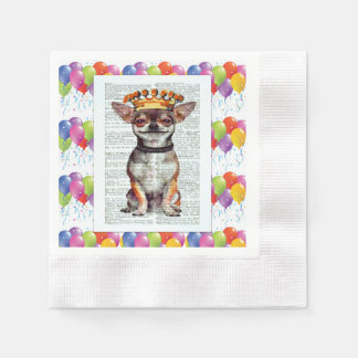 BALLOONS AND KING CHIHUAHUA - HAPPY NAPKIN