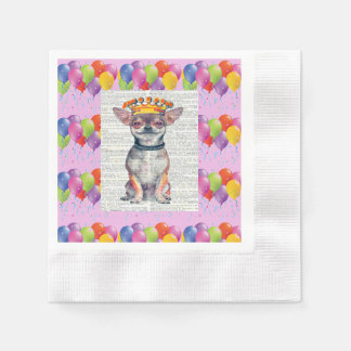 BALLOONS AND KING CHIHUAHUA - HAPPY PAPER NAPKIN