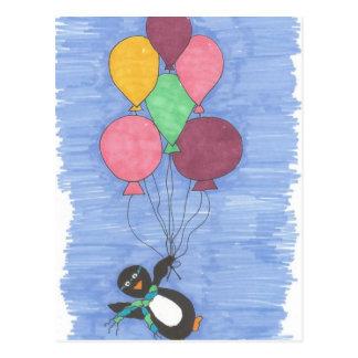 Balloons and Penguin Artist Postcard