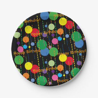 Balloons and Streamers on Black 7 Inch Paper Plate