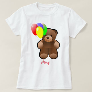 Balloons and Teddy Bear Print T-Shirt