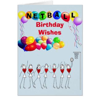 Balloons Birthday Wishes Netball Greeting Card