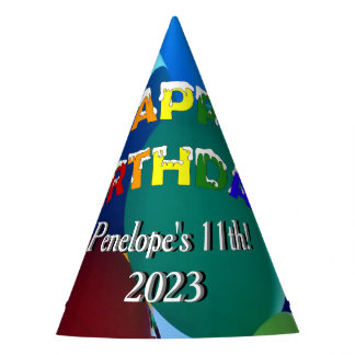Balloons Blues and Greens Rainbow Happy Birthday Party Hat
