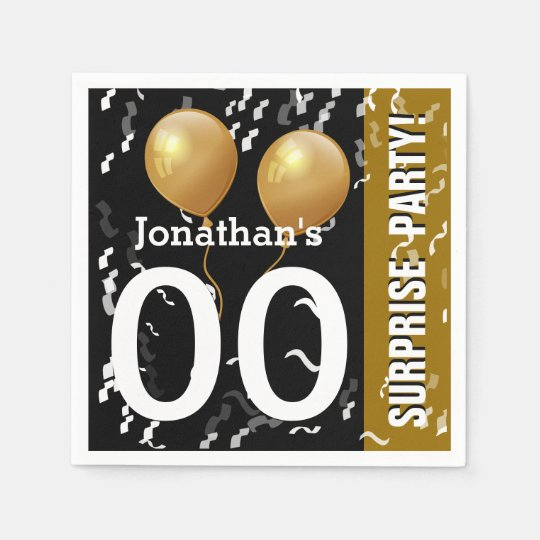 Balloons Confetti Surprise Birthday B02 BLACK GOLD Disposable Napkins