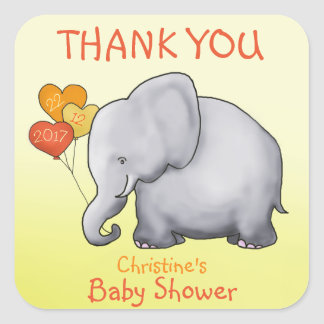 Balloons Elephant Baby Shower Thank You Favor Square Sticker