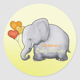 Balloons Elephant Gender-Neutral Baby Classic Round Sticker