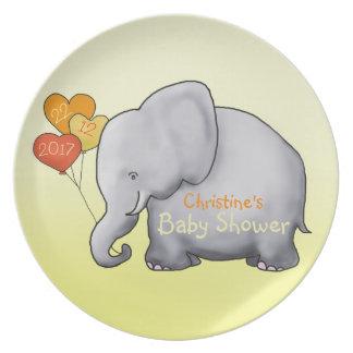 Balloons Elephant Gender-Neutral Baby Shower Plate