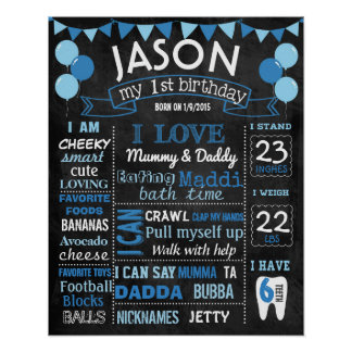 Balloons first birthday chalkboard sign