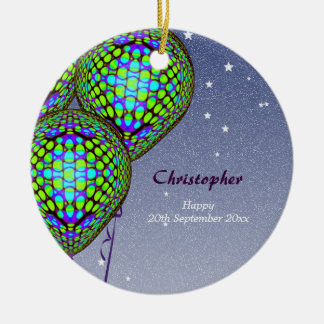 Balloons in Blue and Green Round Ceramic Ornament