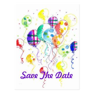 Balloons Rainbow Party Celebrate Confetti Postcard