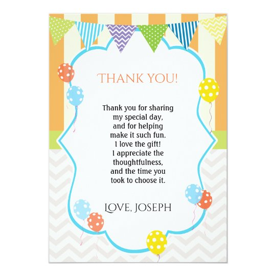 Balloons Thank You Card Note