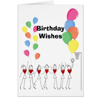 Balloons Theme Happy Netball Birthday Card