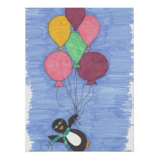 Balloons with Penguin Art Poster Print