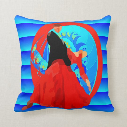 Ballroom Dance Couple On Blue Background Throw Pillow