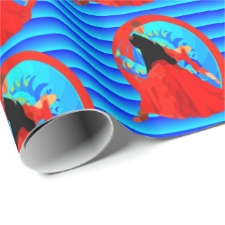 Ballroom Dance Couple On Blue Background Wrapping Paper