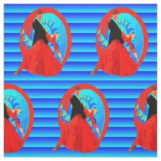 Ballroom Dance Couple Print On Blue FAbric
