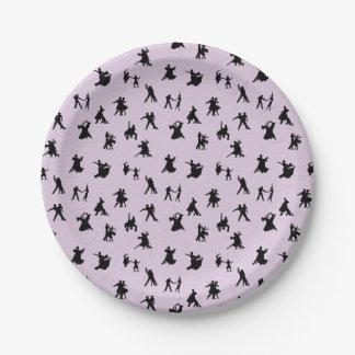 Ballroom Dancers, Black on Pink Paper Plate