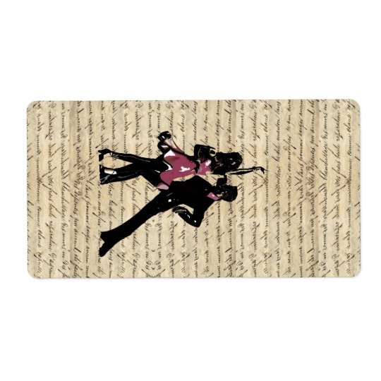 Ballroom dancers on vintage paper shipping label