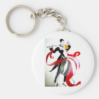BALLROOM DANCING 2 BLACK AND WHITE/COLOR BASIC ROUND BUTTON KEYCHAIN