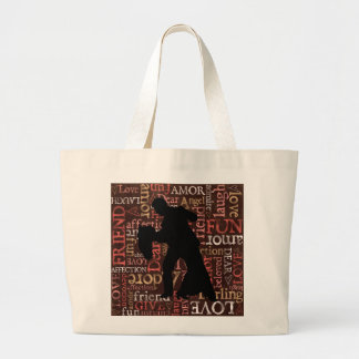 Ballroom Dancing Couple Silhouette, Jumbo Bag