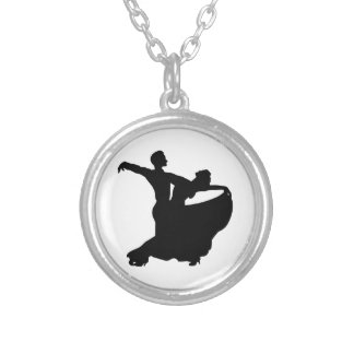 Ballroom Dancing Silver Plated Necklace