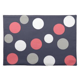 Balls Circles Pattern Grey White Coral Pink Placemat