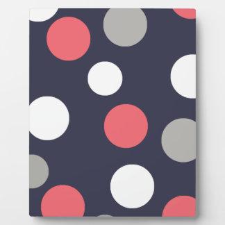 Balls Circles Pattern Grey White Coral Pink Plaque