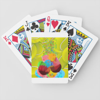 Balls glasses balloons. bicycle playing cards