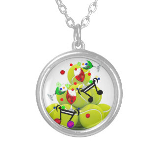 Balls music joy. silver plated necklace