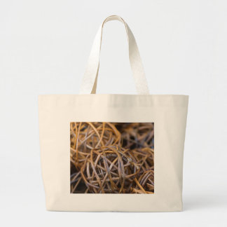 balls of woven wood large tote bag
