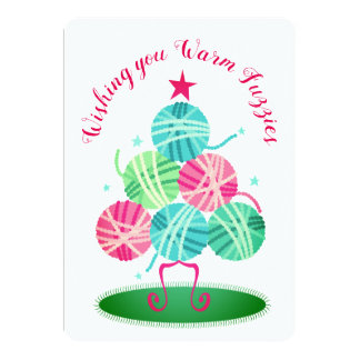 Balls of yarn tree knitting crochet Christmas card
