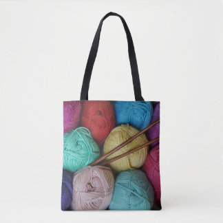 Balls of Yarn with Wooden Knitting Needles Tote Bag