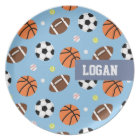 Balls Sports Themed Pattern For Boys Plate
