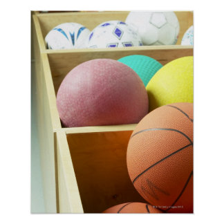 Balls stored in bins poster