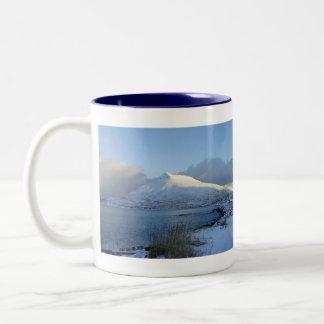 Ballyhoo Mountain, Dutch Harbor, AK Two-Tone Coffee Mug