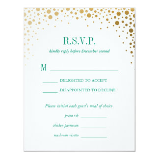 "Balmoral Gold Dots Wedding Reply RSVP Card 4.25"" X 5.5"" Invitation Card"