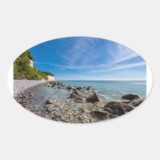 Baltic Sea coast on the island Ruegen Oval Sticker