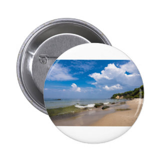 Baltic Sea coast with wave and blue sky 2 Inch Round Button