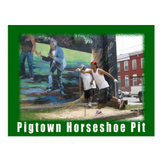 Baltimore Green Space Pigtown Horse Shoes postcard