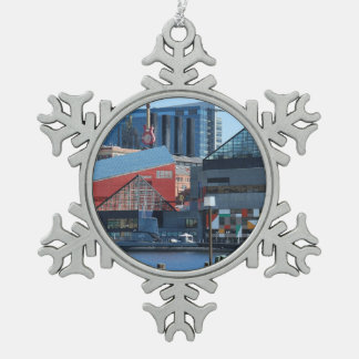 Baltimore Inner Harbor Snowflake Pewter Christmas Ornament