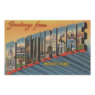 Baltimore, Maryland - Large Letter Scenes 2 Poster