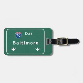 Baltimore Maryland md Interstate Highway Freeway : Luggage Tag