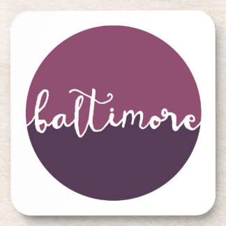 Baltimore, Maryland | Purple Ombre Circle Drink Coaster