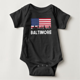 Baltimore MD American Flag Skyline Baby Bodysuit